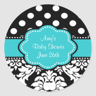 Teal Black Damask Baby Shower or Birthday Stickers