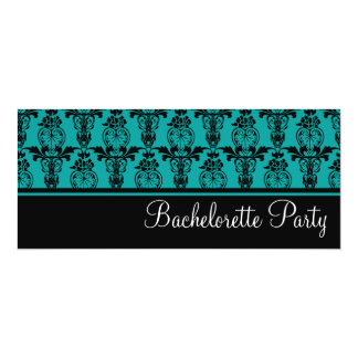 "Teal & Black Damask Bachelorette Party Invitations 4"" X 9.25"" Invitation Card"