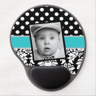 Teal Black Damask Dots Photo Mousepad