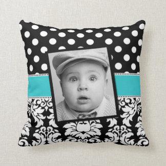 Teal Black Damask Dots Photo Pillow