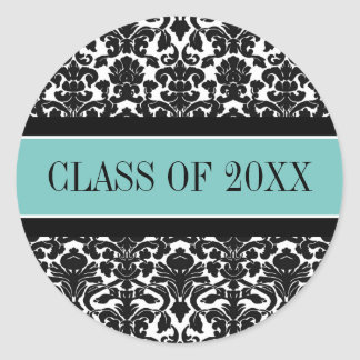Teal Black Damask Graduation Custom Year Classic Round Sticker