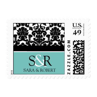 Teal Black Damask Monogram Wedding Stamps