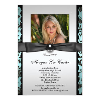 Teal Black Damask Photo Graduation Card