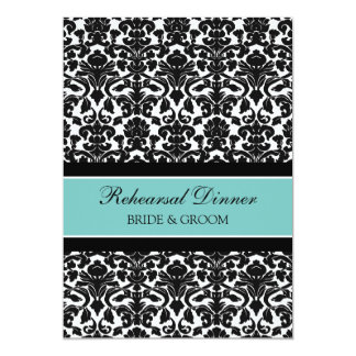 Teal Black Damask Rehearsal Dinner Party Card