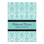 Teal Black Damask Rehearsal Dinner Party 5x7 Paper Invitation Card