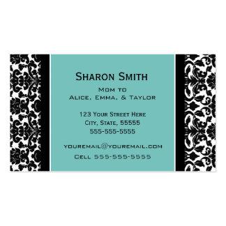Teal Black Damask Retro Mom Calling Cards