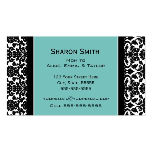 Teal Black Damask Retro Mom Calling Cards Business Card