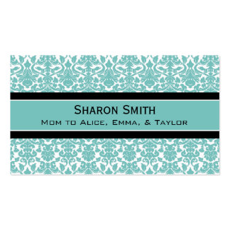 Teal Black Damask Retro Mom Calling Cards Double-Sided Standard Business Cards (Pack Of 100)