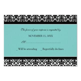 Teal Black Damask RSVP Wedding Card