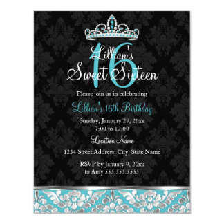 Teal Black Damask & Tiara Sweet 16 Invite
