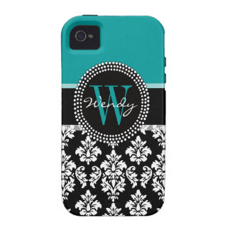 Teal, Black Damask Your Initial, Your Name iPhone 4/4S Covers