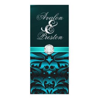 Teal & Black Diamond Damask Wedding Invitation