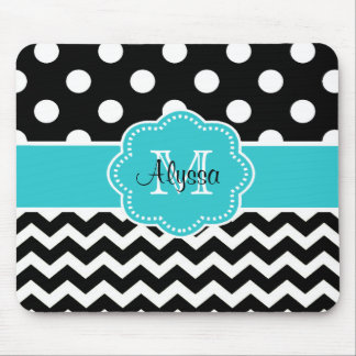 Teal Black Dots Chevron Personalized Mousepad
