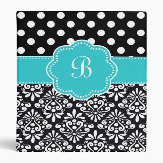 Teal Black Dots Damask Monogram Binder