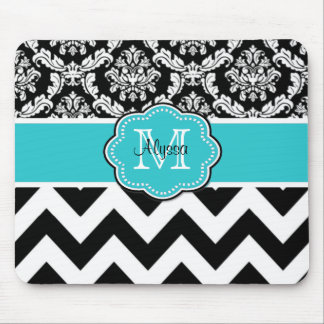 Teal Black Dots Damask Personalized Mousepad