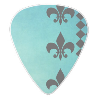 teal,black,fleur de lis,chic,elegant,pattern,trend white delrin guitar pick
