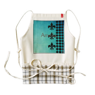 teal,black,fleur de lis,chic,elegant,pattern,trend zazzle HEART apron