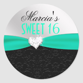 Teal Black Floral Damask Diamond Heart Seal Classic Round Sticker