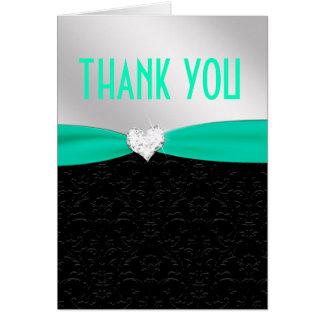 Teal Black Floral Damask Diamond Thank You Card