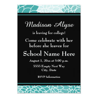 Teal Black Floral Going to College Party Invite