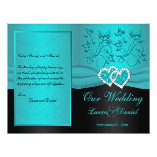 Teal, Black Floral Joined Hearts Wedding Program