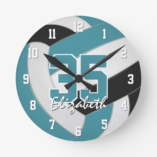 teal black girls boys personalized volleyball round clock
