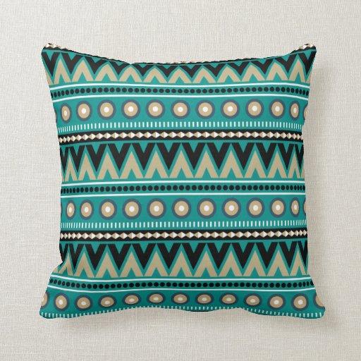 Teal Black Gold Aztec Modern Stylish Throw Pillow Zazzle