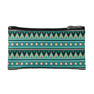 Teal Black Gold Aztec Stylish Small Cosmetics Bag