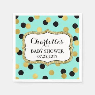 Teal Black Gold Confetti Baby Shower Napkin