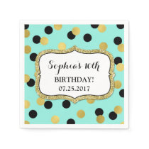Teal Black Gold Confetti Birthday Party Paper Napkin
