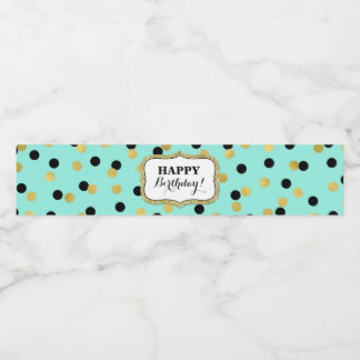 Teal Black Gold Confetti Happy Birthday! Water Bottle Label