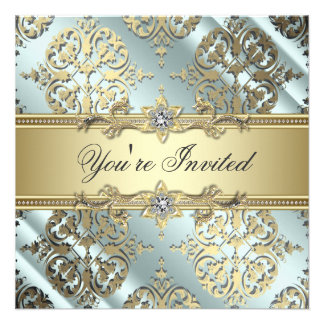 Teal Black Gold Damask Party Personalized Invite