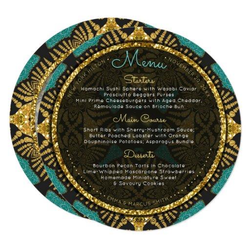 Teal Black Gold Eastern Round Wedding Menu Cards