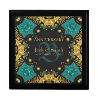 Teal Black + Gold Wedding Anniversary Gift Box