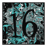Teal & Black Grunge 16th Birthday 5.25x5.25 Square Paper Invitation Card