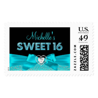 Teal & Black Heart Bow Sweet 16 Stamp