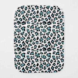 6b8c0e5c7f Teal Black Leopard Animal Print Pattern Baby Burp Cloth