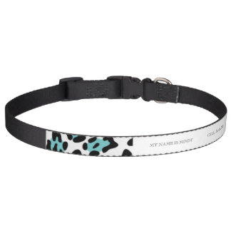 Teal Black Leopard Animal Print Pattern Pet Collar