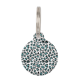 Teal Black Leopard Animal Print Pattern Pet ID Tag