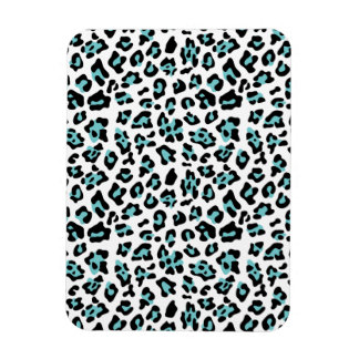 Teal Black Leopard Animal Print Pattern Rectangular Magnet