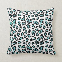 Teal Black Leopard Animal Print Pattern Throw Pillow