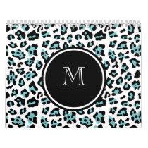 Teal Black Leopard Animal Print with Monogram Calendar