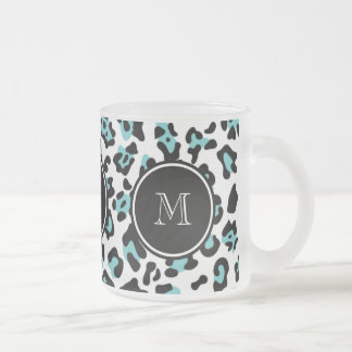 Teal Black Leopard Animal Print with Monogram Frosted Glass Coffee Mug