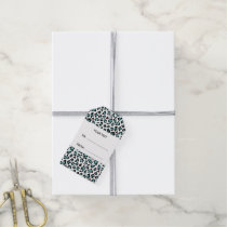 Teal Black Leopard Animal Print with Monogram Gift Tags