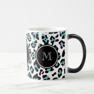 Teal Black Leopard Animal Print with Monogram Magic Mug