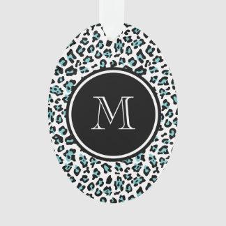 Teal Black Leopard Animal Print with Monogram Ornament