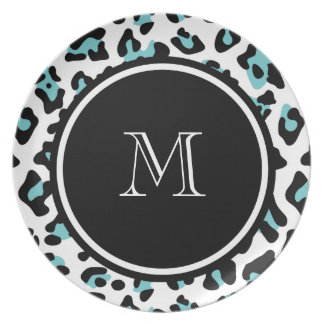Teal Black Leopard Animal Print with Monogram Dinner Plate