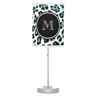 Teal Black Leopard Animal Print with Monogram Table Lamp