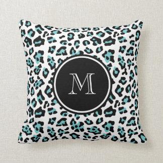 Teal Black Leopard Animal Print with Monogram Throw Pillow