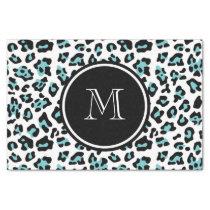 Teal Black Leopard Animal Print with Monogram Tissue Paper